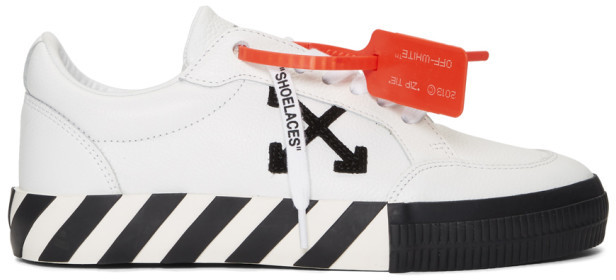 Off-White White and Black Low Vulcanized Sneakers