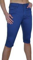 Ice 1479-4) Stretch Capri Pants Turn Up Cuff Chino Sheen Royal