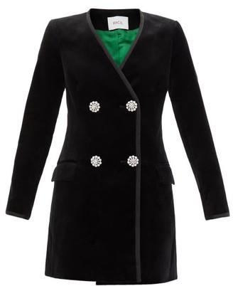 Racil Laura Cotton-blend Velvet Blazer Dress - Black