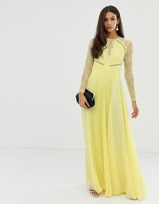 Asos Design DESIGN long sleeve lace panelled pleat maxi dress-Blue