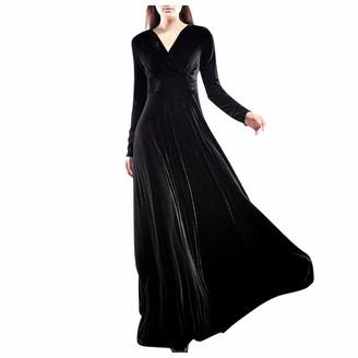 Veyikdg Dresses for Women Elegantes V-Neck Cross Wrap Swing Velvet Long Sleeve Vintage Cocktail Club Party A-Line Maxi Dress Black
