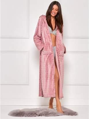M&Co Spot fleece full length zip front dressing gown