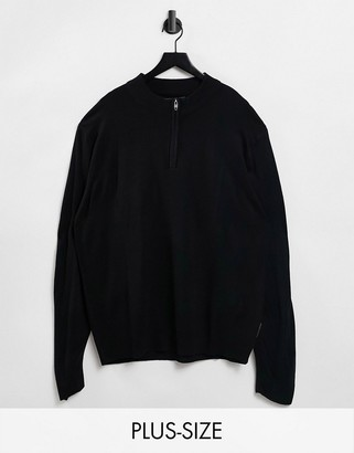 French Connection Plus soft touch half zip knit sweater in navy