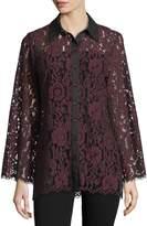 Neiman Marcus Sheer-Lace Button-Front Blouse