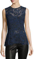Veronica Beard Corded Lace Back-Zip Sleeveless Peplum Blouse