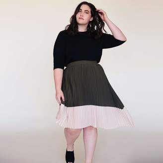 Ori The Asymmetric Pleated Skirt in Olive/Nude Size 12-14