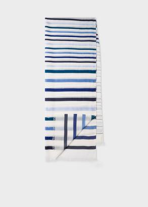 Women's White And Blue Stripe Semi-Sheer Cotton-Blend Scarf