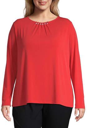 Liz Claiborne Long Sleeve Beaded Neckline Top - Plus