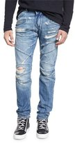 Pierre Balmain Destroyed Slim-Fit Biker Jean, Denim Blue