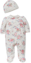 Little Me 2-Pc. Floral-Print Hat and Footed Coverall Set, Baby Girls (0-24 months)