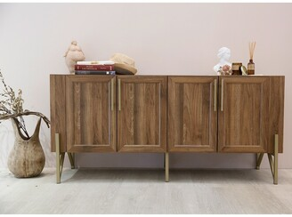 Overstock Roomfitters Walnut Mid Century TV Stand Media Console, Side Board, Office Cabinet, Gold Painted Legs and pulls