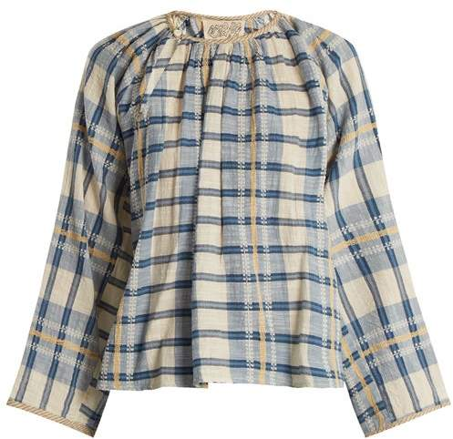 Ace&Jig Farrah Gathered Neck Striped Cotton Blouse - Womens - Blue White