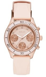 Relics by Fossil Women's Jean Rose Gold and Blush Pink Silicone Watch