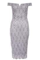Quiz Grey Bardot Midi Dress