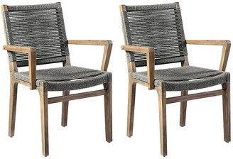 One Kings Lane Set of 2 Oceans Outdoor Armchairs - Gray - frame, natural; seat/back, gray