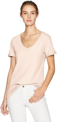 LAmade Women's Relax Fit V-Neck Roll Sleeve Tee