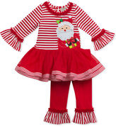 Rare Editions 2-Pc. Stripe Santa Top & Leggings Set, Toddler & Little Girls (2T-6X)