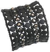 Zirconite Multi-Strand Bracelet with Bezel Crystals - Black