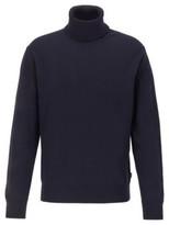 HUGO BOSS - Hybrid Neckline Sweater In Italian Virgin Wool - Dark Blue