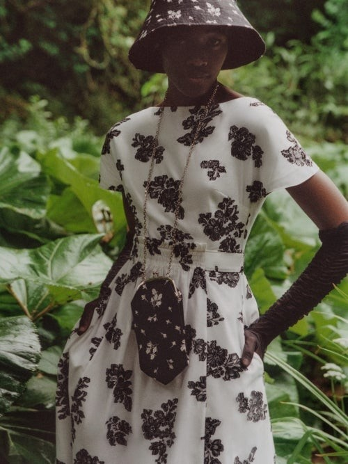 Thumbnail for your product : Erdem Fraser Floral Fil-coupe Twill Midi Dress - White Black
