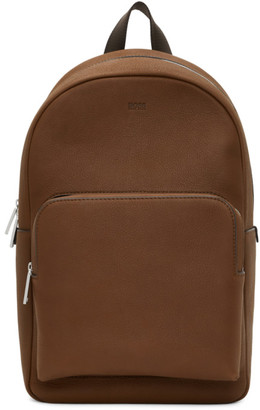 HUGO BOSS Brown Leather Crosstown Backpack