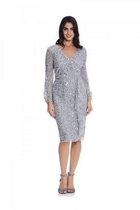 Adrianna Papell Beaded Blouson Sleeve Dress in Silver Mist