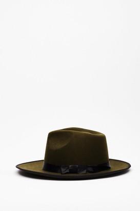 Nasty Gal Womens I Spy Faux Wool Fedora Hat - Khaki