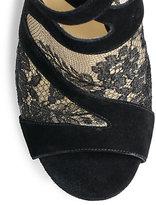 Jimmy Choo Vantage Suede & Lace Platform Sandals