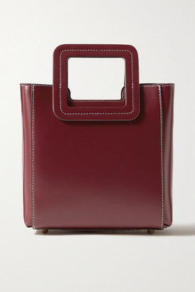 STAUD Shirley Mini Leather Tote - Burgundy