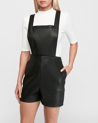 Express Vegan Leather Overall Shorts