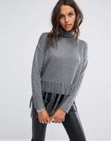 Religion Oversized High Neck Sweater With Tassels