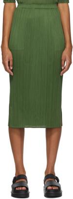 Pleats Please Issey Miyake Khaki Pleated Mid-Length Skirt
