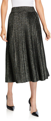 A.L.C. Nevada Metallic Pleated Midi Skirt
