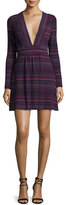Amanda Uprichard Paxton V-Neck Mini Dress, Juniper Stripe