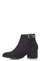 Quiz Black Faux Suede Western Buckle Detail Heeled Ankle Boots