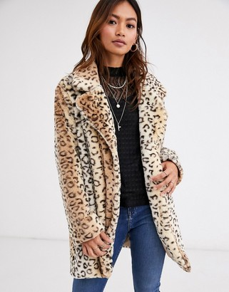 Qed London faux fur coat in leopard print