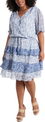 1 STATE Tiered Ruffle Calico Tie Waist Dress