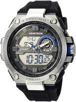 Armitron Sport Men's 20/5242BBK Blue Accented Analog-Digital Chronograph Black Silicone Strap Watch