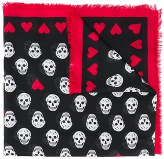 Alexander McQueen Love Heart Skull Scarf
