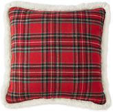 North Pole Trading Co. Tartan Plaid Sherpa-Back Pillow
