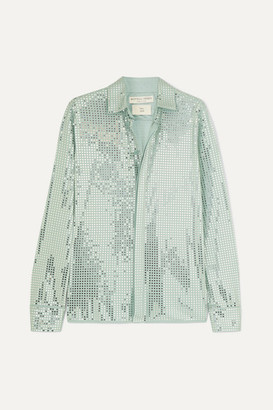 Bottega Veneta Paillette-embellished Satin-jersey Shirt - Gray green