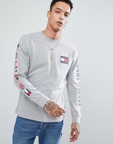 Tommy Jeans 90's Capsule Long Sleeve Top Sleeve And Back Flag In Grey Marl