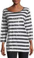 Joan Vass Sequined Striped Tunic, Petite