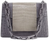 Nancy Gonzalez Bicolor Crocodile Flap-Top Chain Shoulder Bag, Gray Matte