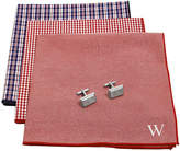 Asstd National Brand Personalized Gingham Handkerchief Set with Zircon Jewel Cufflinks