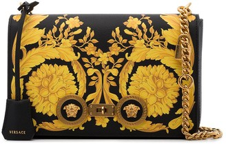 Versace Baroque Print Leather Shoulder Bag
