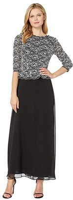 Alex Evenings Long Sequin Lace Mock Dress (Black/White) Women's Dress