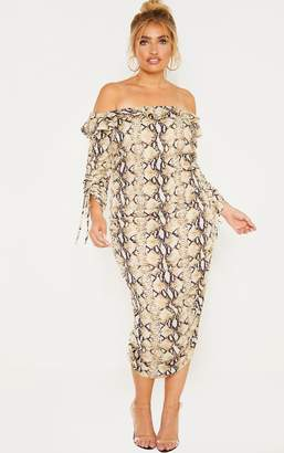 PrettyLittleThing Plus Taupe Snake Print Ruched Side Bardot Dress
