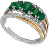 Macy's Emerald (1-1/4 ct. t.w.) and Diamond Accent Ring in Sterling Silver and 14k Gold