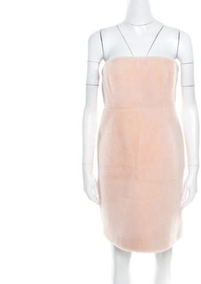 Fendi Blush Pink Lamb Shearling Fur Strapless Mini Dress M